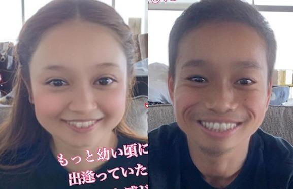 """平愛梨&長友佑都、アプリで撮った""""幼顔""""に反響「小さい頃から美男美女」"""