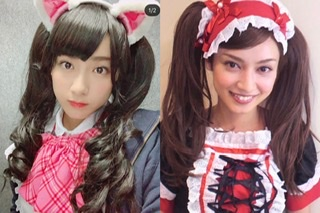 平愛梨&祐奈姉妹、ツインテールのメイドコスプレ姿に反響「美人姉妹」「お人形みたい」