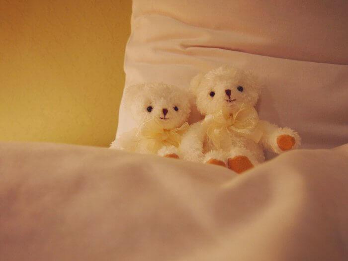ベッドに並ぶ2つのぬいぐるみ