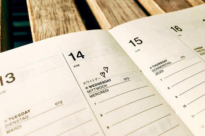ホワイトデーを示すカレンダー