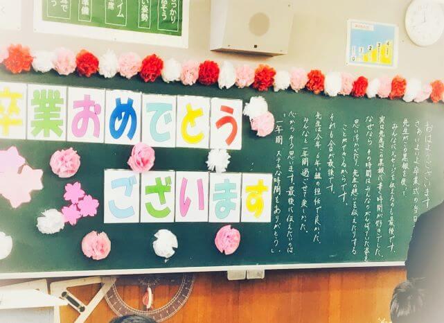 卒業式の日の黒板