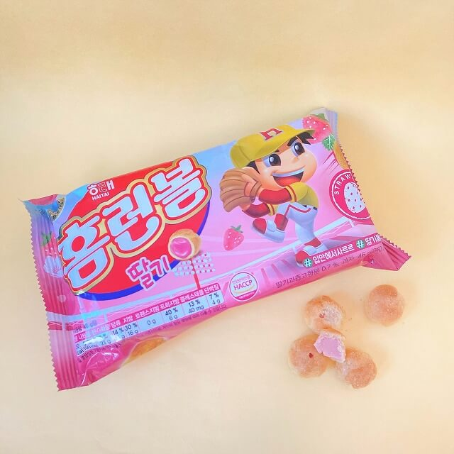 韓国コンビニ_韓国なう_コンビニお菓子_ホームランボール_いちご