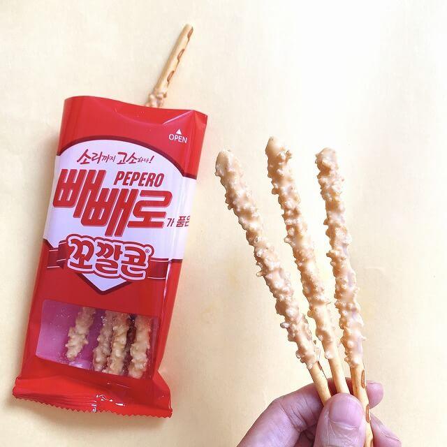 韓国コンビニ_韓国なう_コンビニお菓子_ぺペロ_とうもろこし