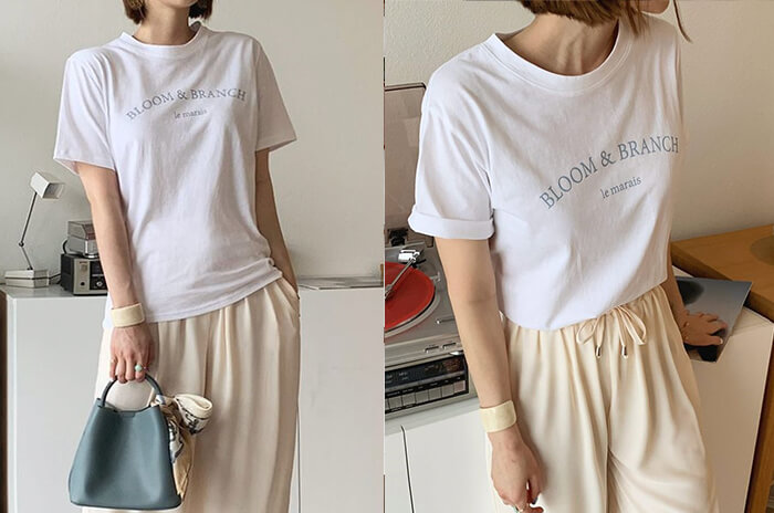 DHOLIC レタリング半袖Tシャツ